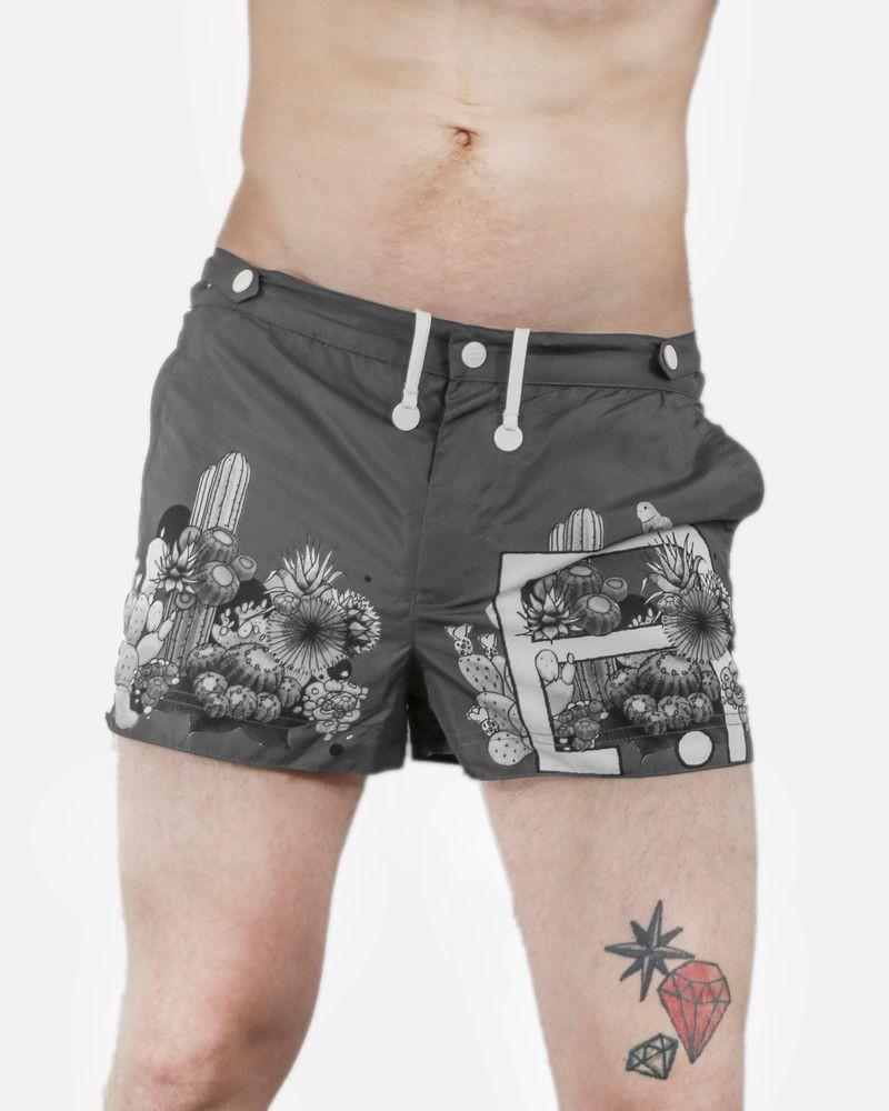 Maillot de bain gris motifs cactus Robinson Les Bains