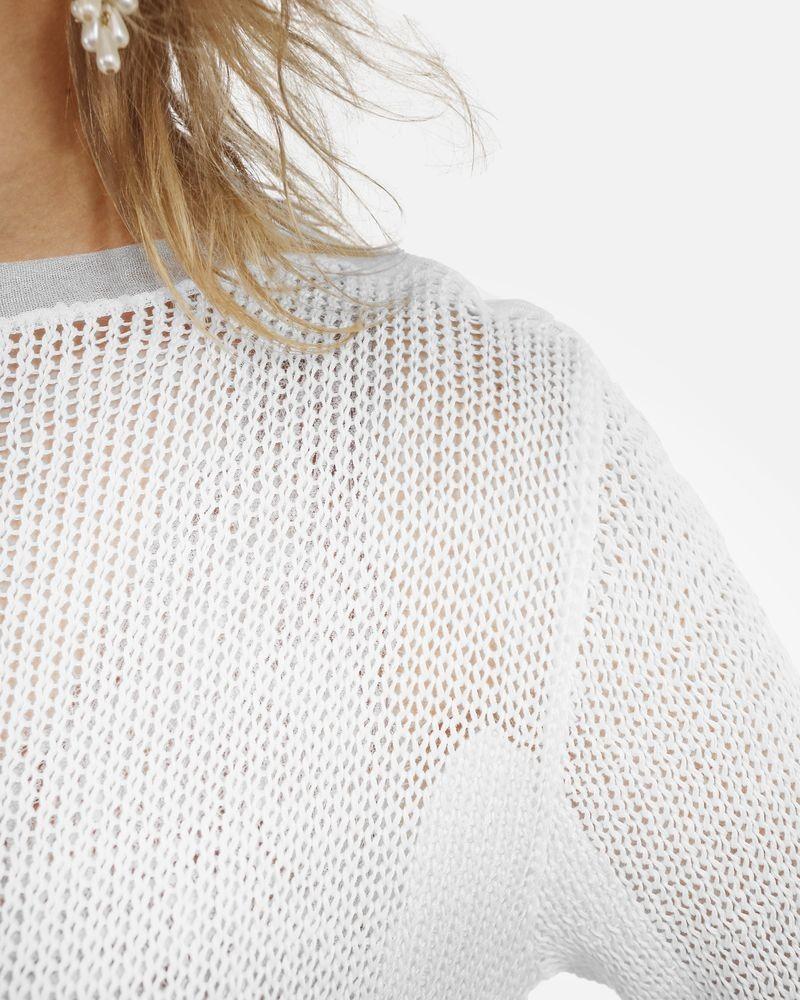 Pull en coton tricoté blanc John Galliano
