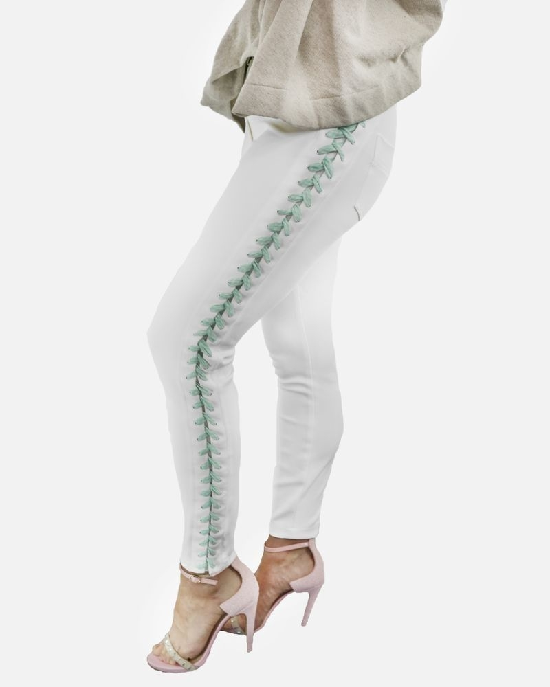 Pantalon en crêpes blanc à laçage Elisabetta Franchi