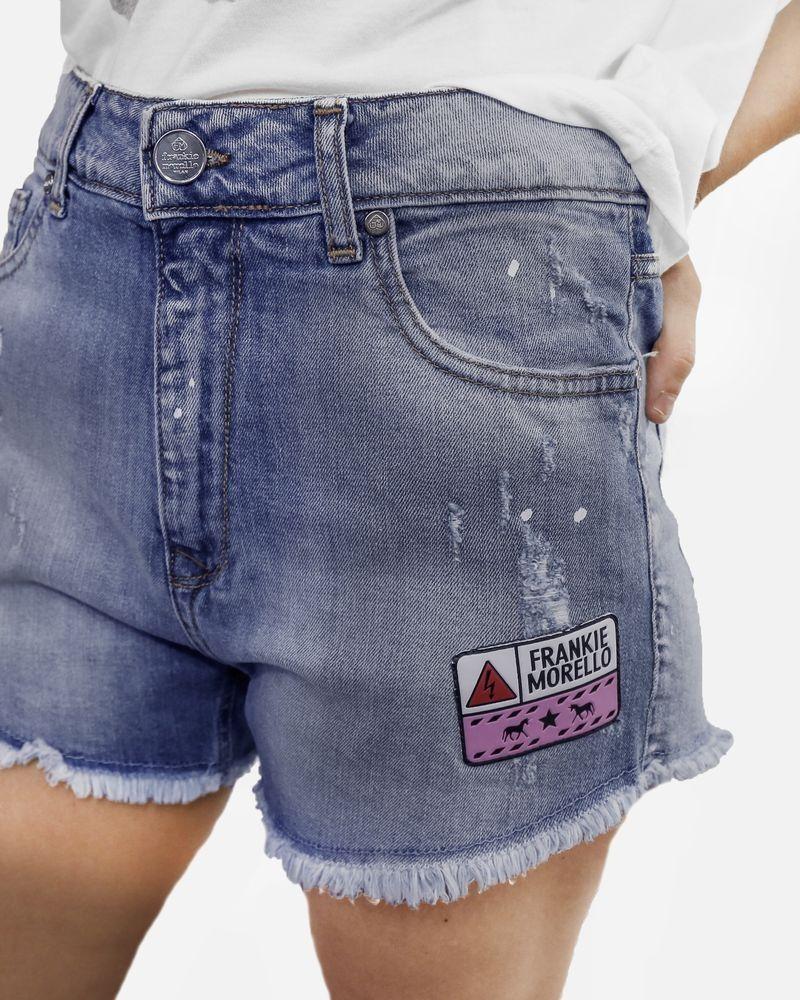 Short en jean à patch Frankie Morello