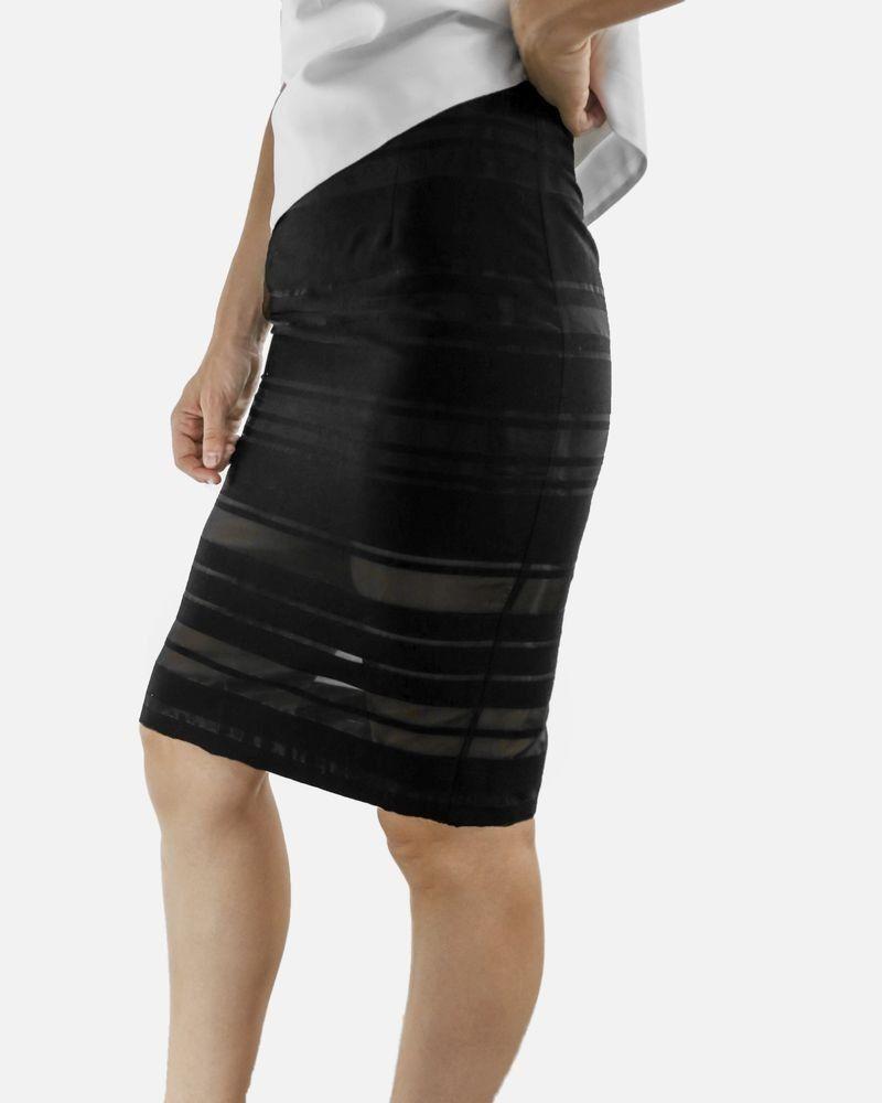 Jupe crayon noir à bandes ajourés Blugirl