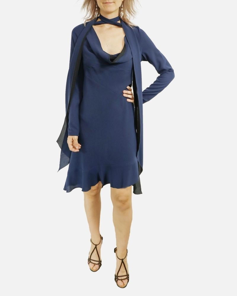 Robe en crêpe bleu à lavallière John Galliano