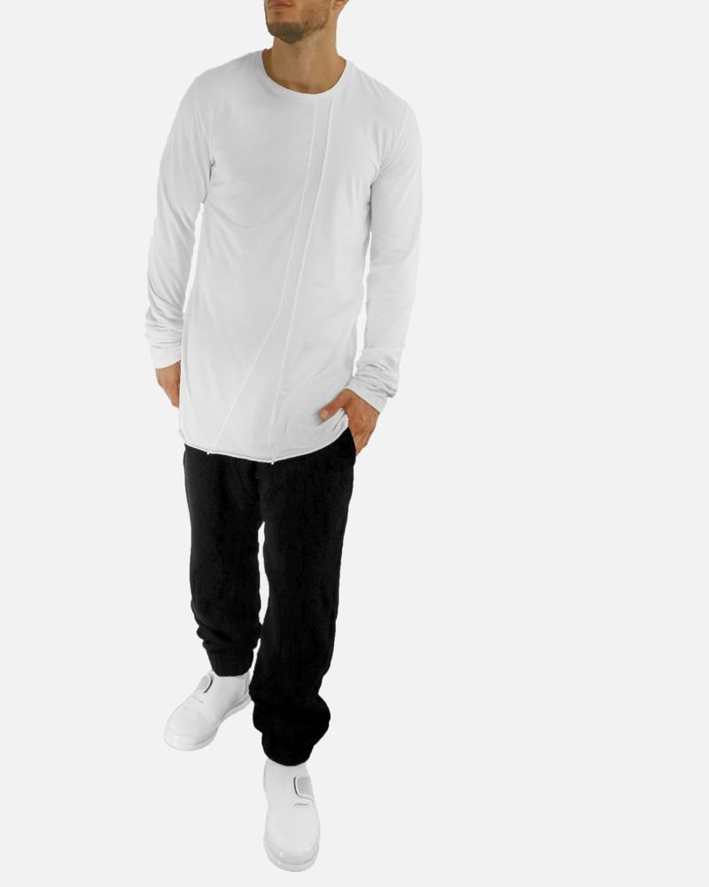 T-shirt long blanc à galon piqué Lost & Found