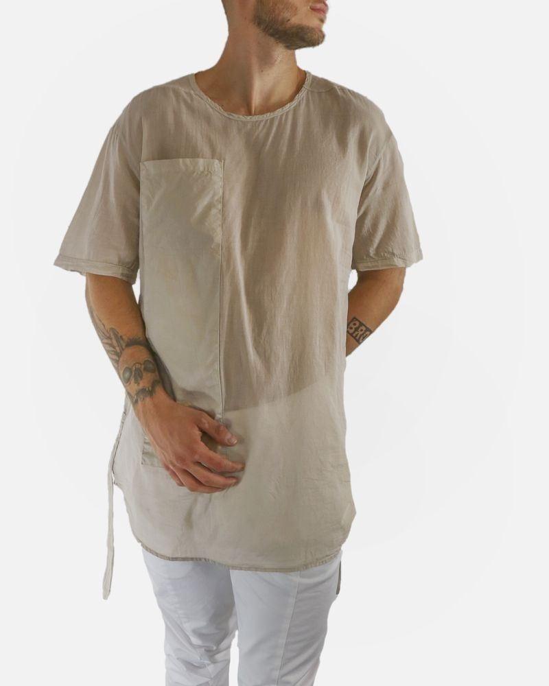 T-shirt over sise à bride beige Lost & Found
