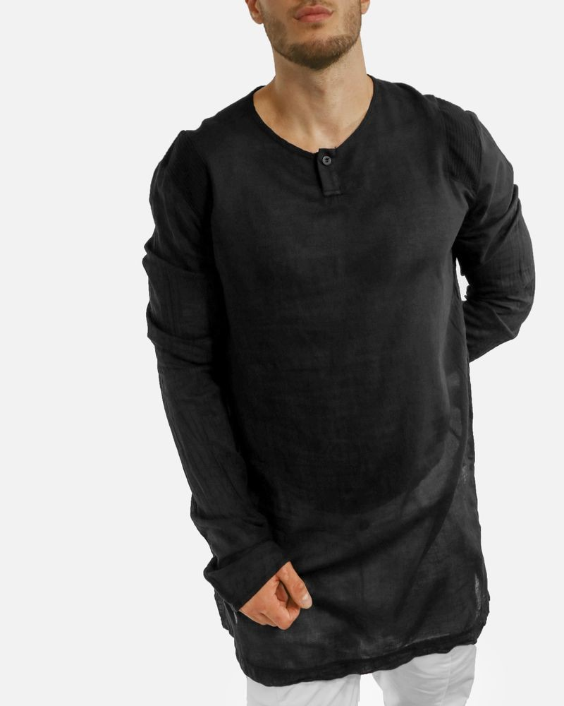 T-Shirt noir col boutonné Lost & Found