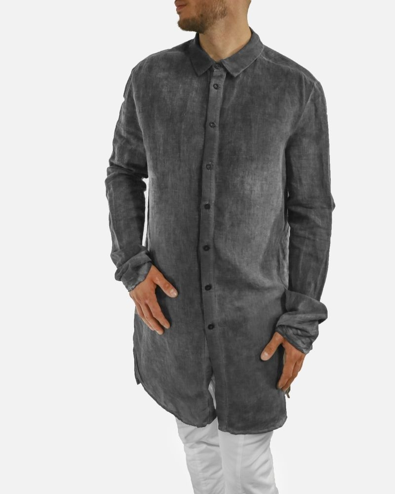 Chemise grise en lin effet béton Lost & Found