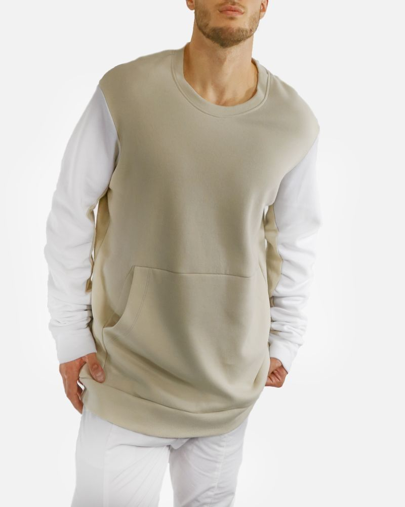 Sweat beige poche kangourou fantaisie