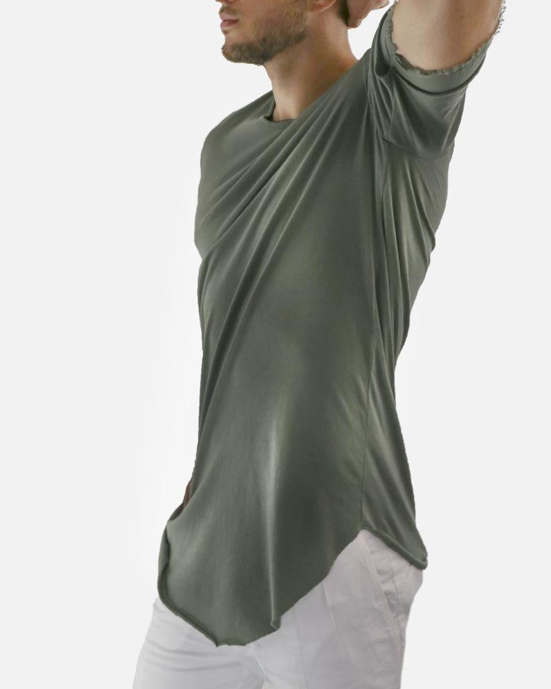T-shirt kaki manches courtes fil coupé Lost & Found