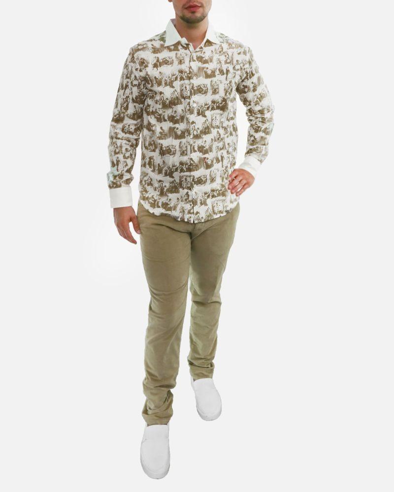 Chemise blanche à motifs taupe Marchand Drapier