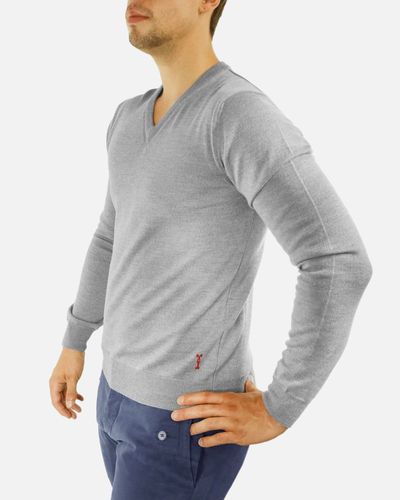 Pull gris col V Marchand Drapier