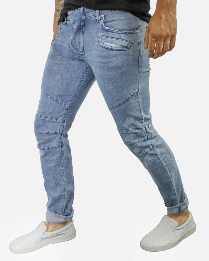 Jean bleu matelassé skinny Balmain