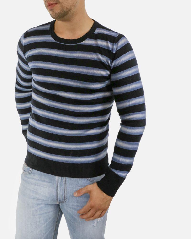 Pull en laine vierge noire à rayures bleues Iceberg