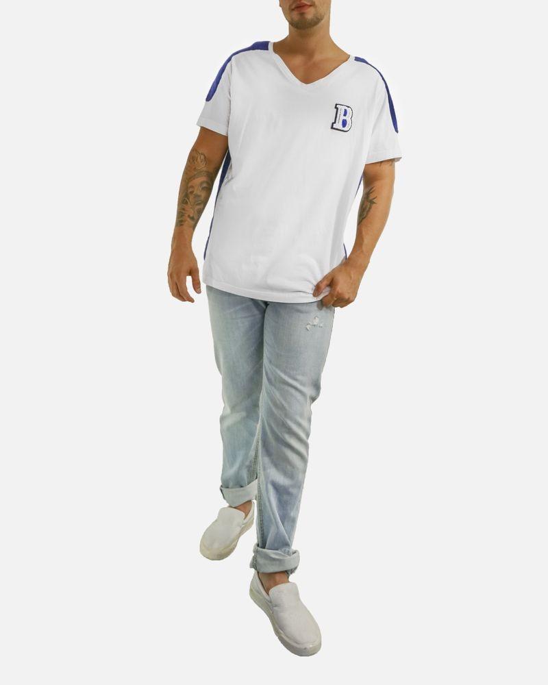T-shirt blanc à matelassage bleu Balmain