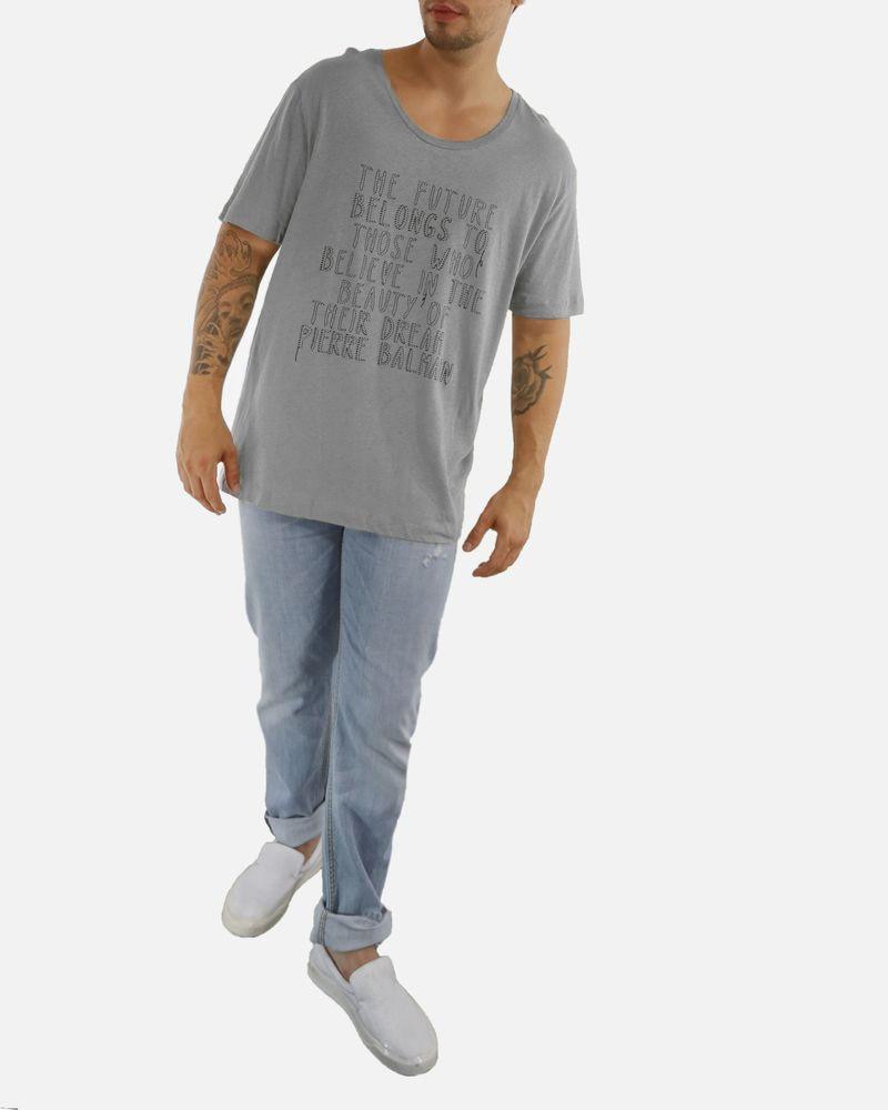 T-shirt gris à inscriptions Balmain