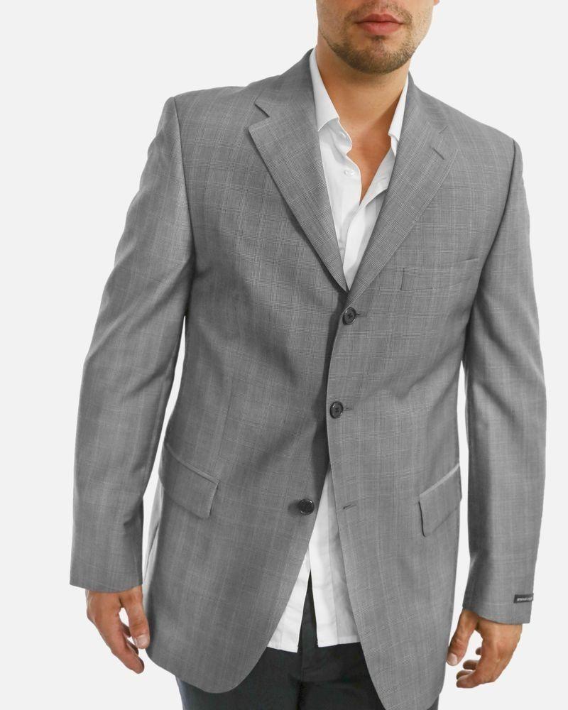 Veste grise en mohair et soie à carreaux Emanuel Ungaro Homme