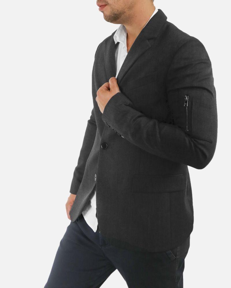 Veste gris chiné à poche fantaisie John Galliano