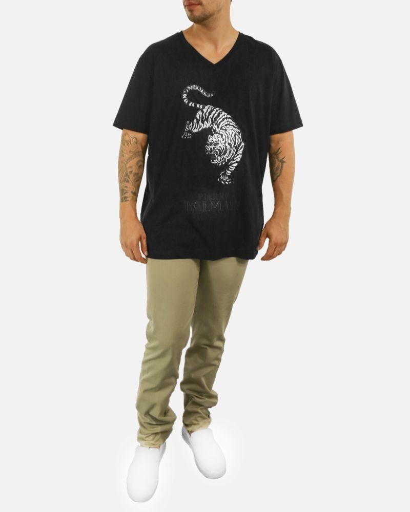 T-Shirt noir à broderie «Tigre» Balmain