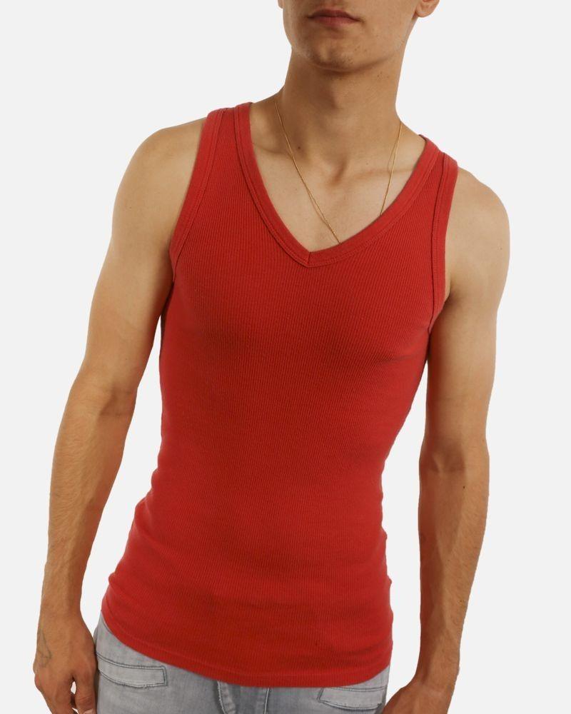 Débardeur en coton côtelé rouge Maison Margiela