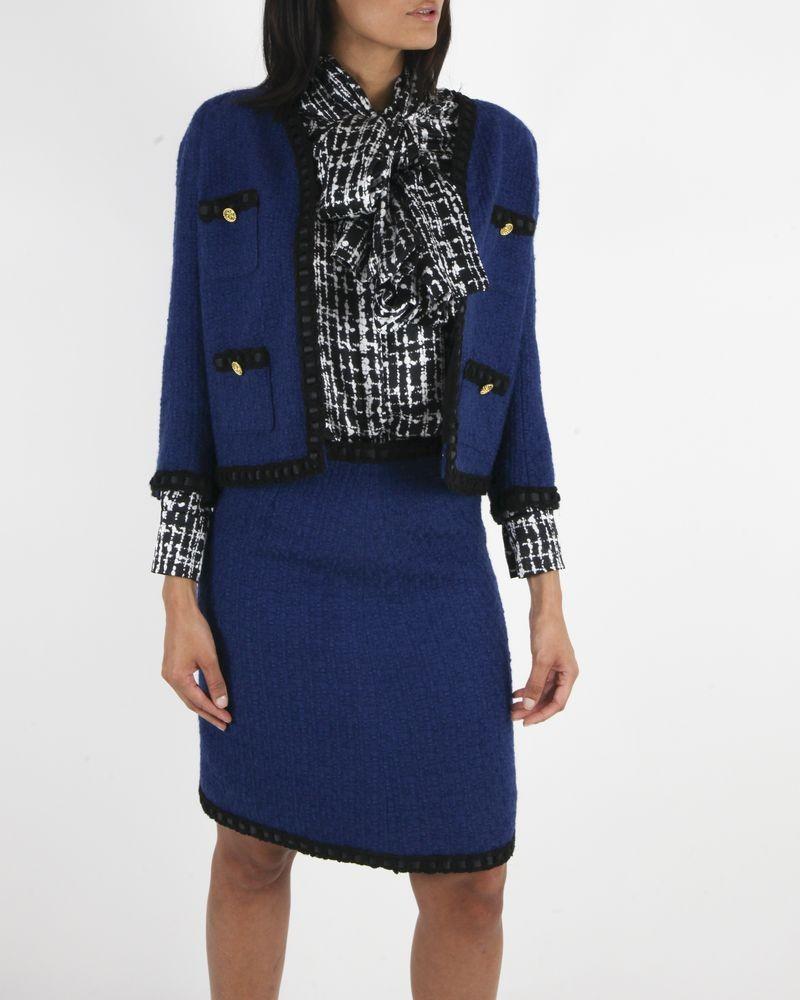 Jupe en tweed bleu Edward Achour