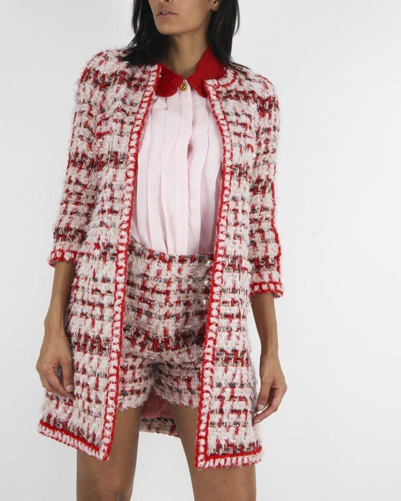Manteau en tweed rouge/rose à galon crochet Edward Achour