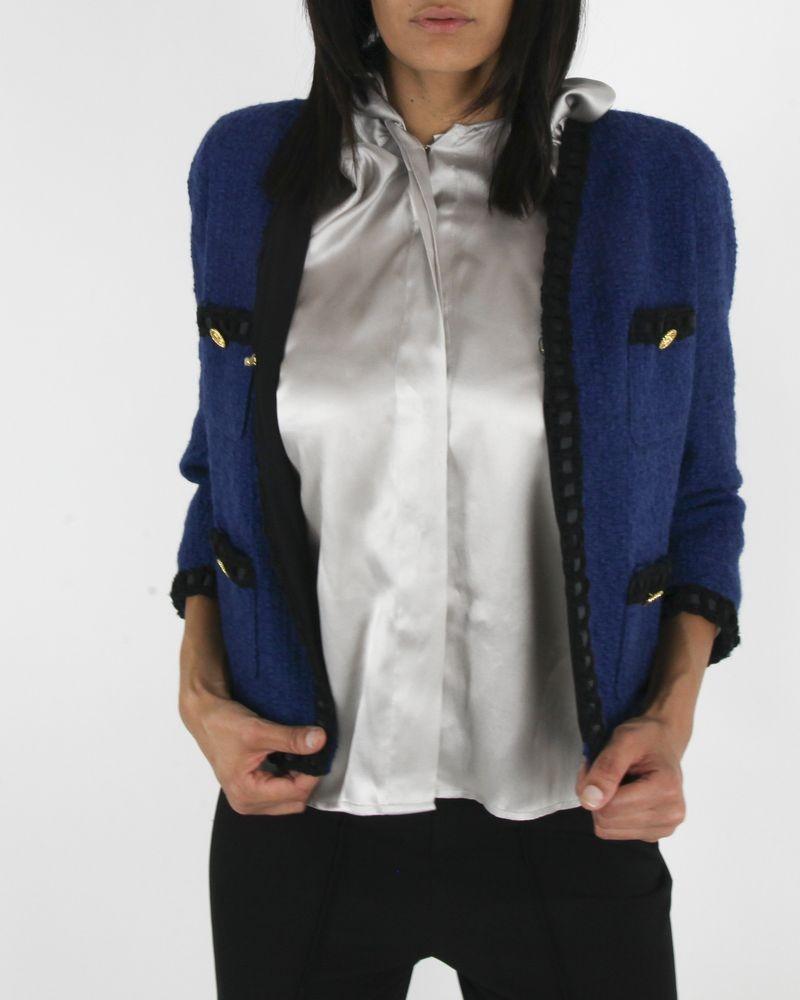 Veste en tweed bleu Edward Achour