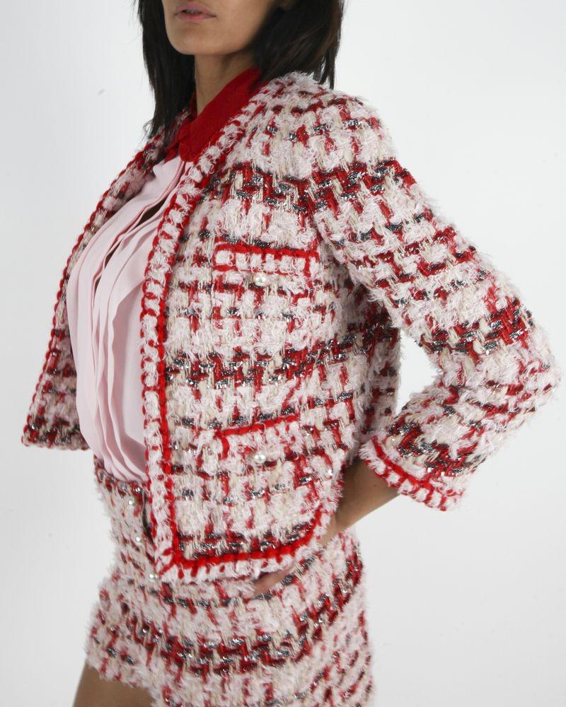 Veste en tweed rose Edward Achour