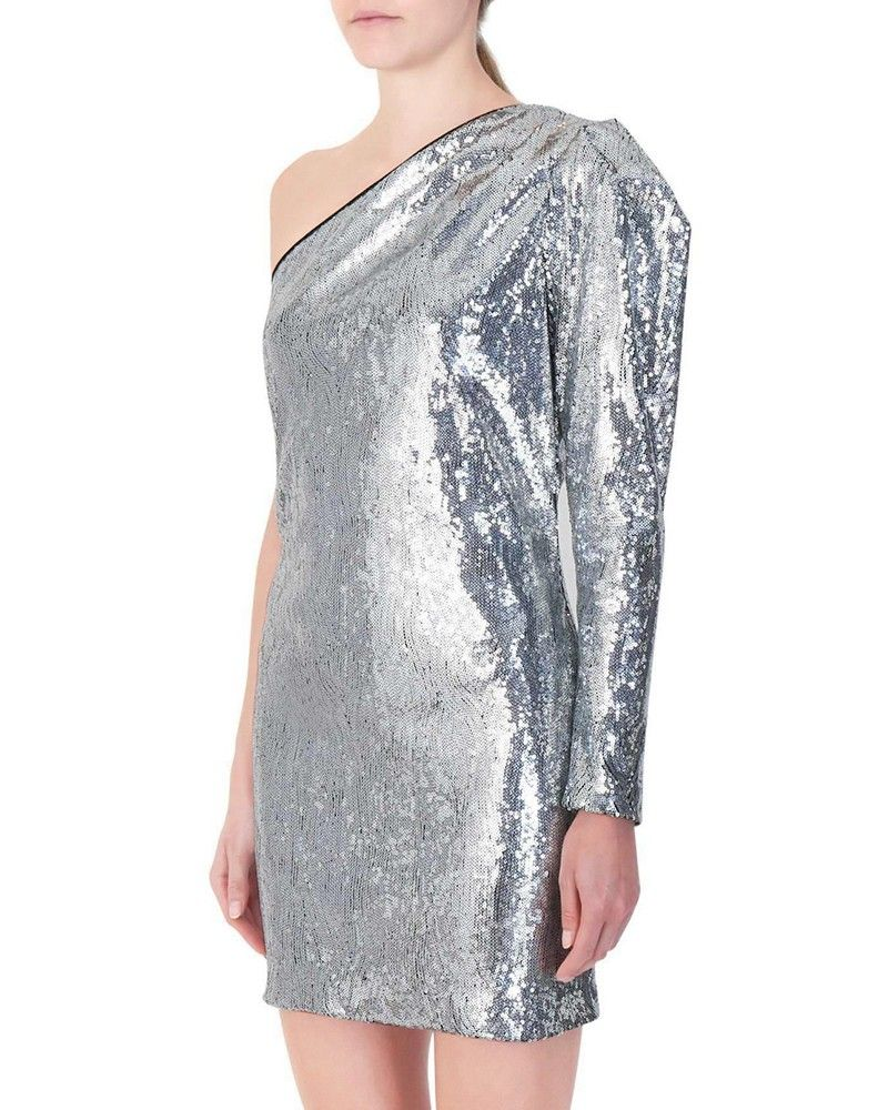 Robe à sequins argenté Space Simona Corsellini
