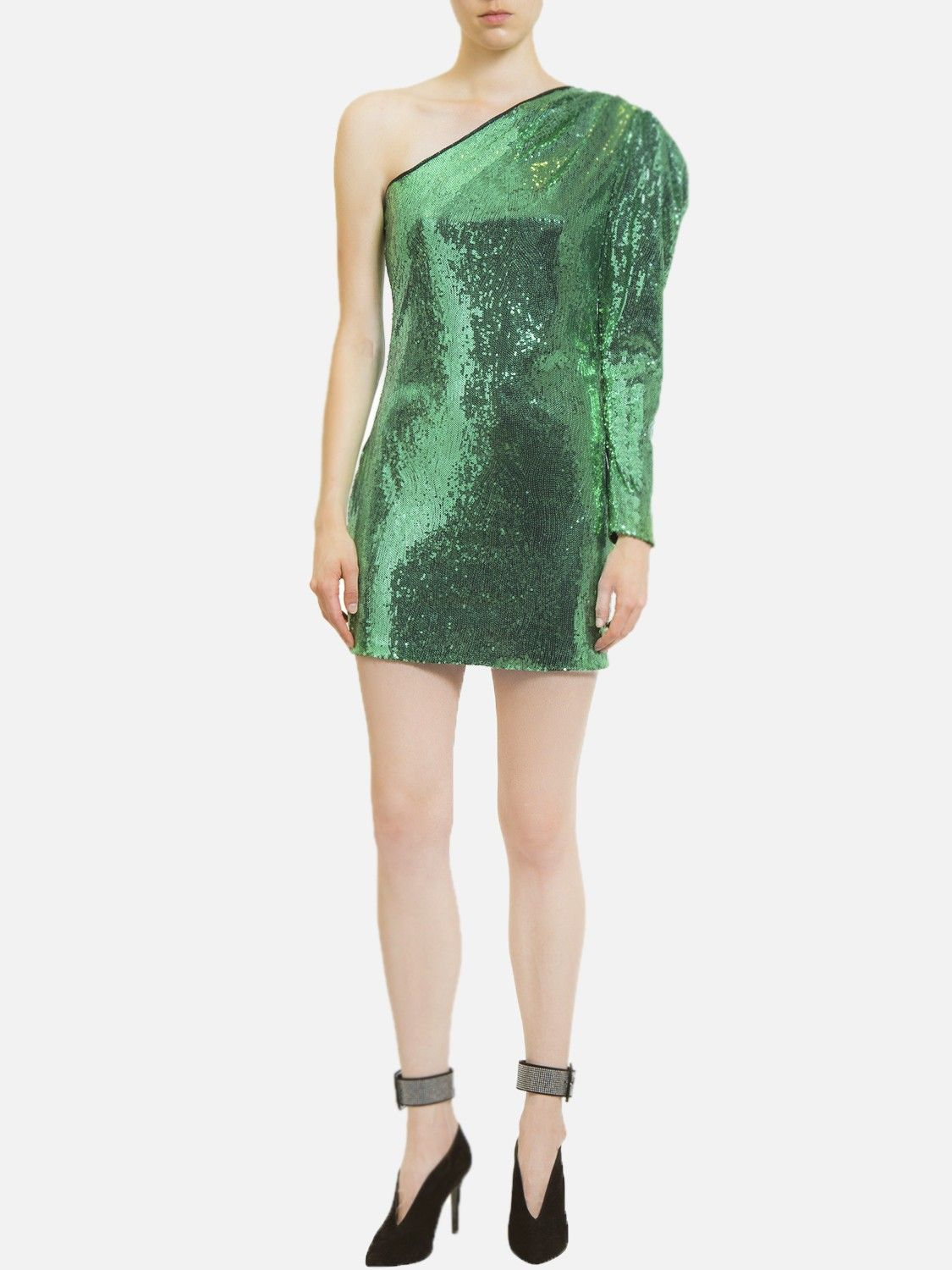 Robe à sequins vert Space Simona Corsellini