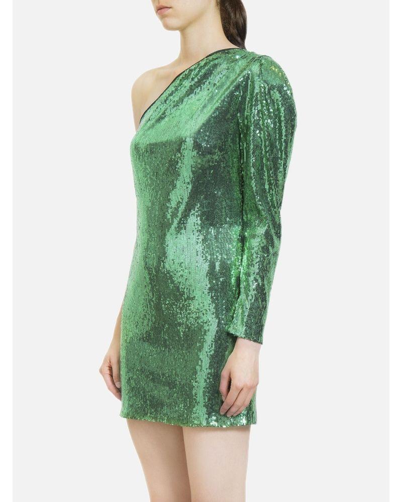 Robe asymétrique à sequins vert