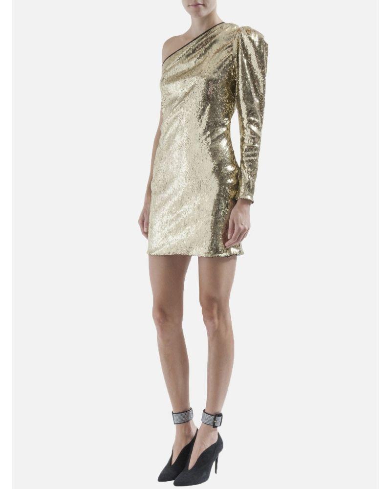 Robe asymétrique à sequins dorée