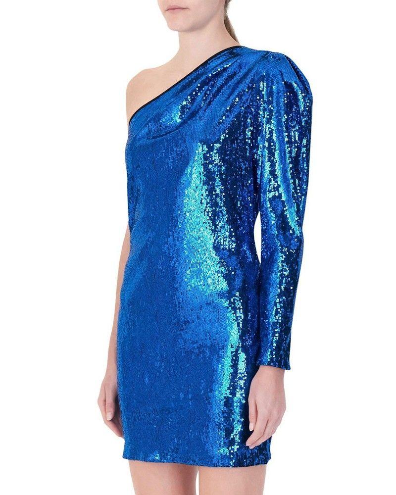 Robe asymétrique à sequins bleu