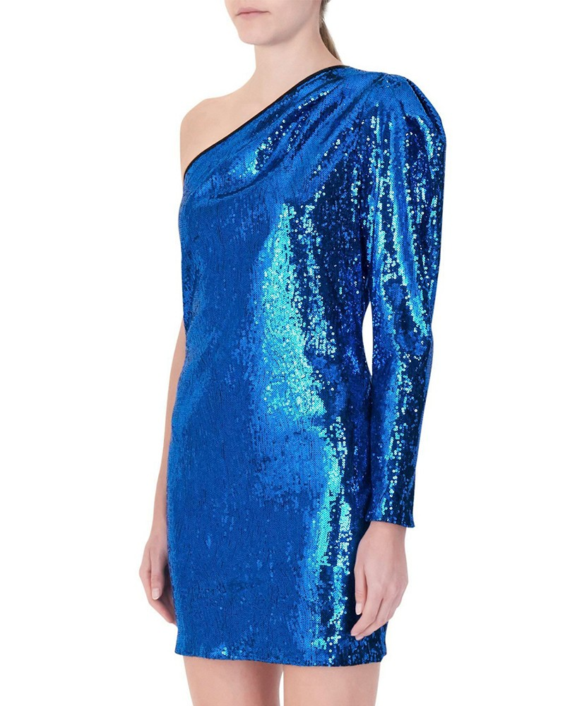 Robe à sequins bleu Space Simona Corsellini