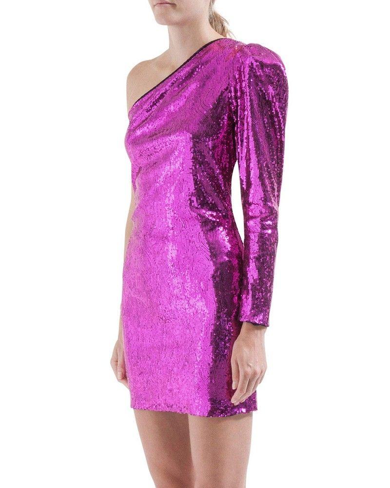 Robe asymétrique à sequins rose