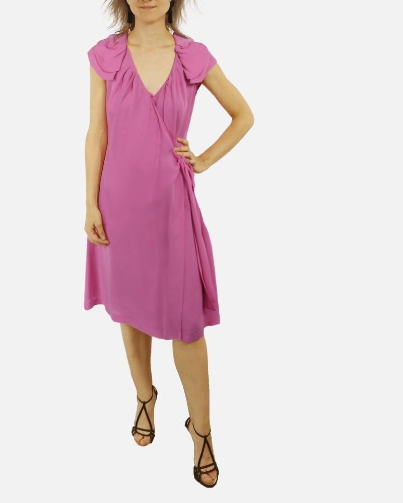 Robe haute couture cache cœur en soie rose Valentino