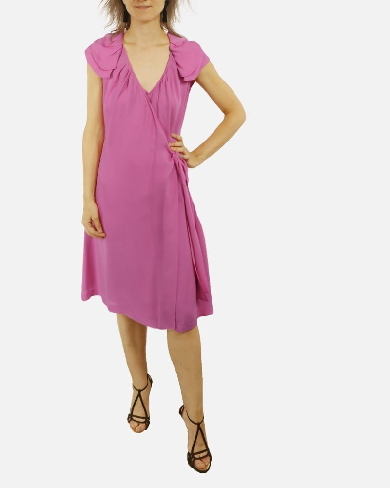 Robe haute couture cache c½ur en soie rose Valentino
