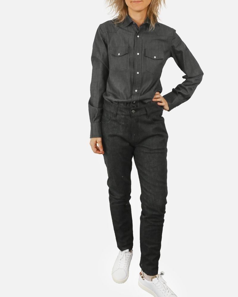Combinaison en jean gris John Galliano