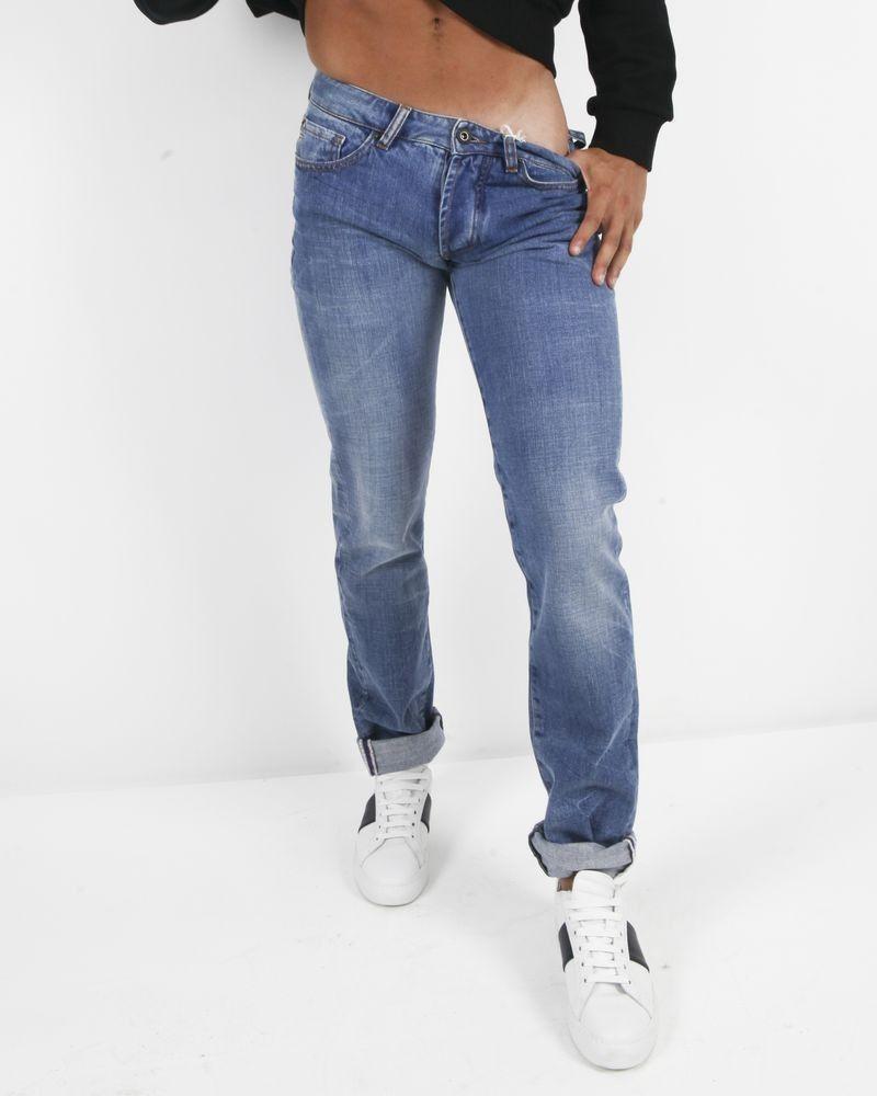 Jeans 5 poches bleu Manostorti