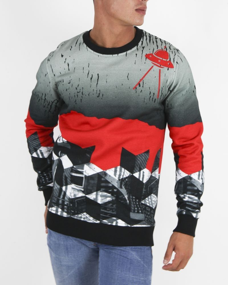 Sweat OVNI gris et rouge Frankie Morello
