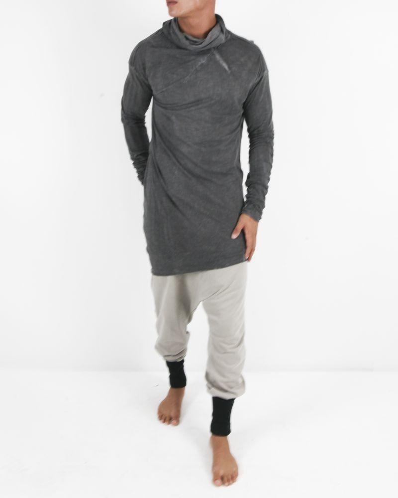 T-shirt col roulé long en coton délavé gris Lost & Found
