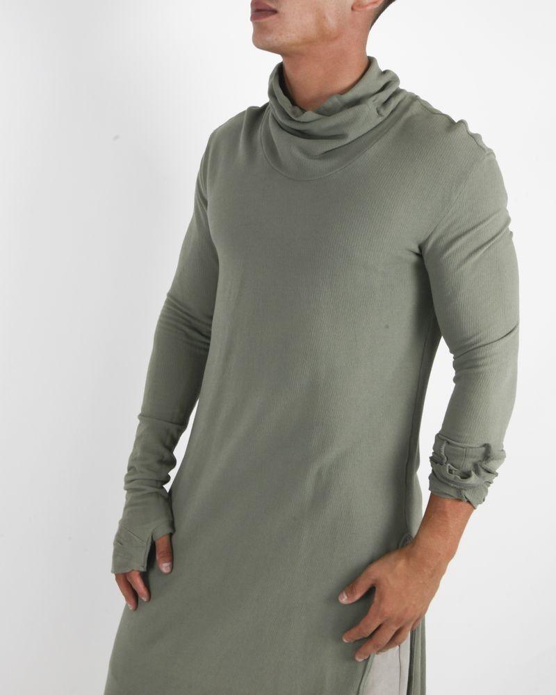 T-shirt col roulé long en coton kaki Lost & Found