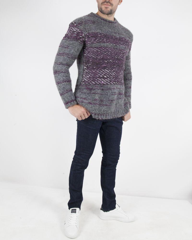 Pull en alpaga gris à rayures violettes Frankie Morello