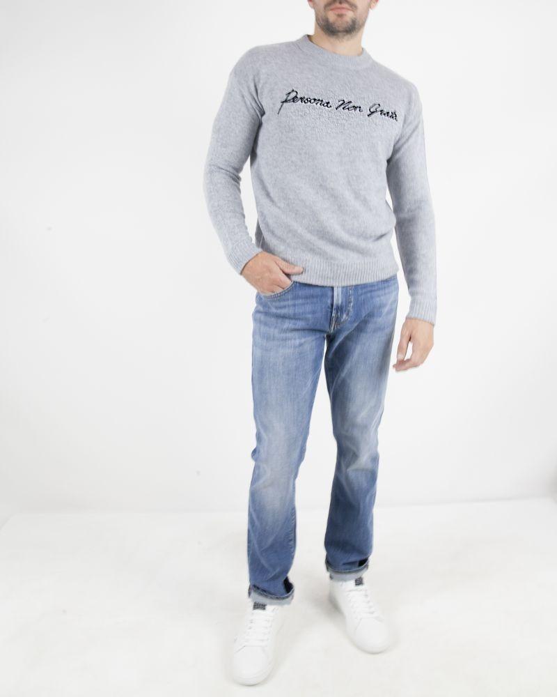 Pull en laine et cashmere gris John Richmond