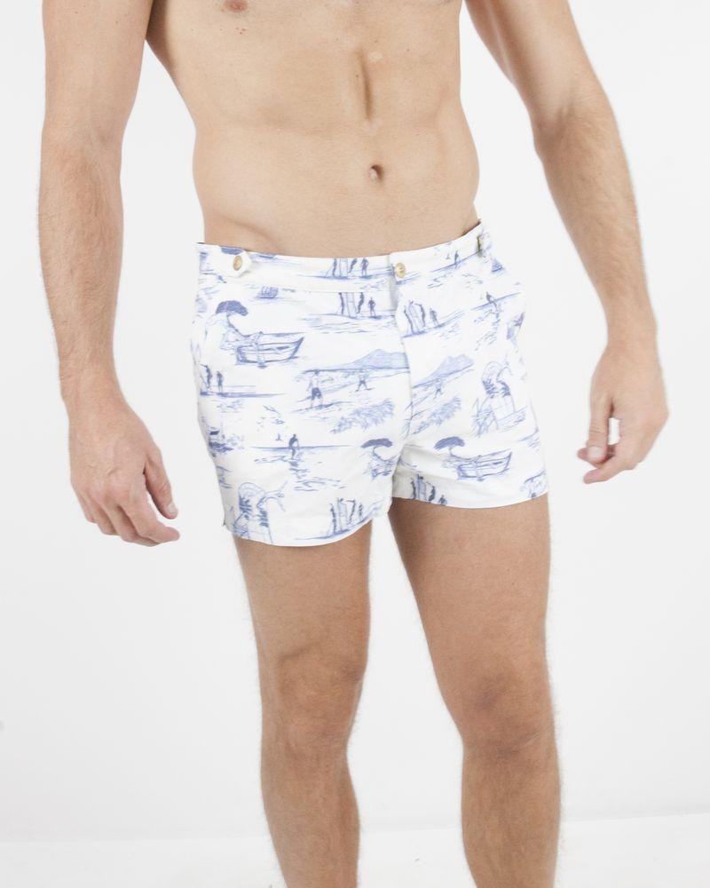 Maillot de bain blanc à motifs plage Robinson Les Bains