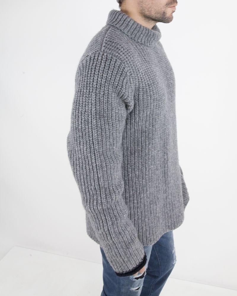 Pull à col roulé en laine grise Lim