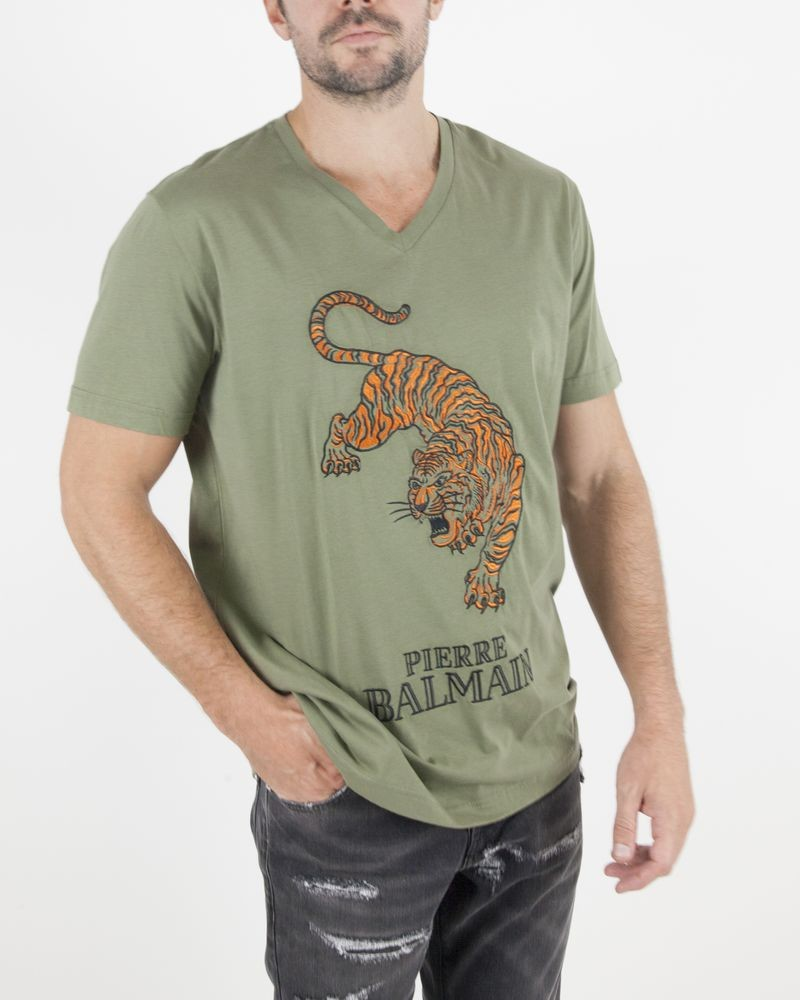 T-Shirt col V kaki Balmain