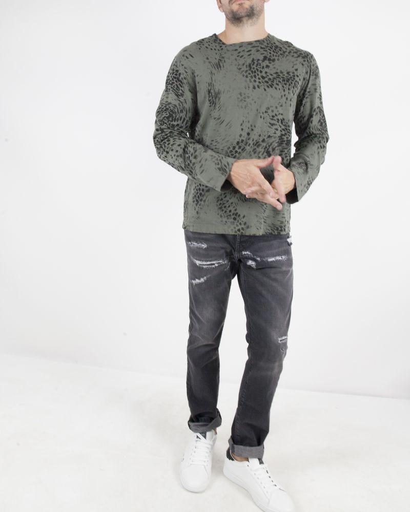 T-Shirt en coton kaki à imprimé Panthère Balmain