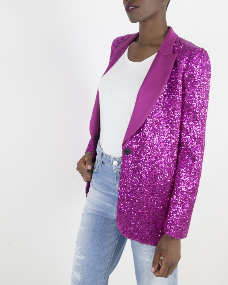 Veste courte à sequins Fushia Space Simona Corsellini