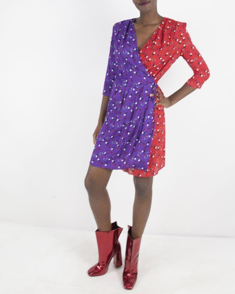 Robe à motifs rouge et violet Space Simona Corsellini