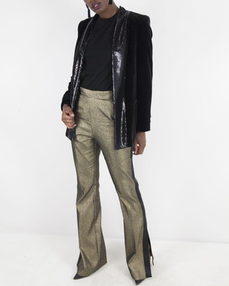 Pantalon brillant dorée Space Simona Corsellini