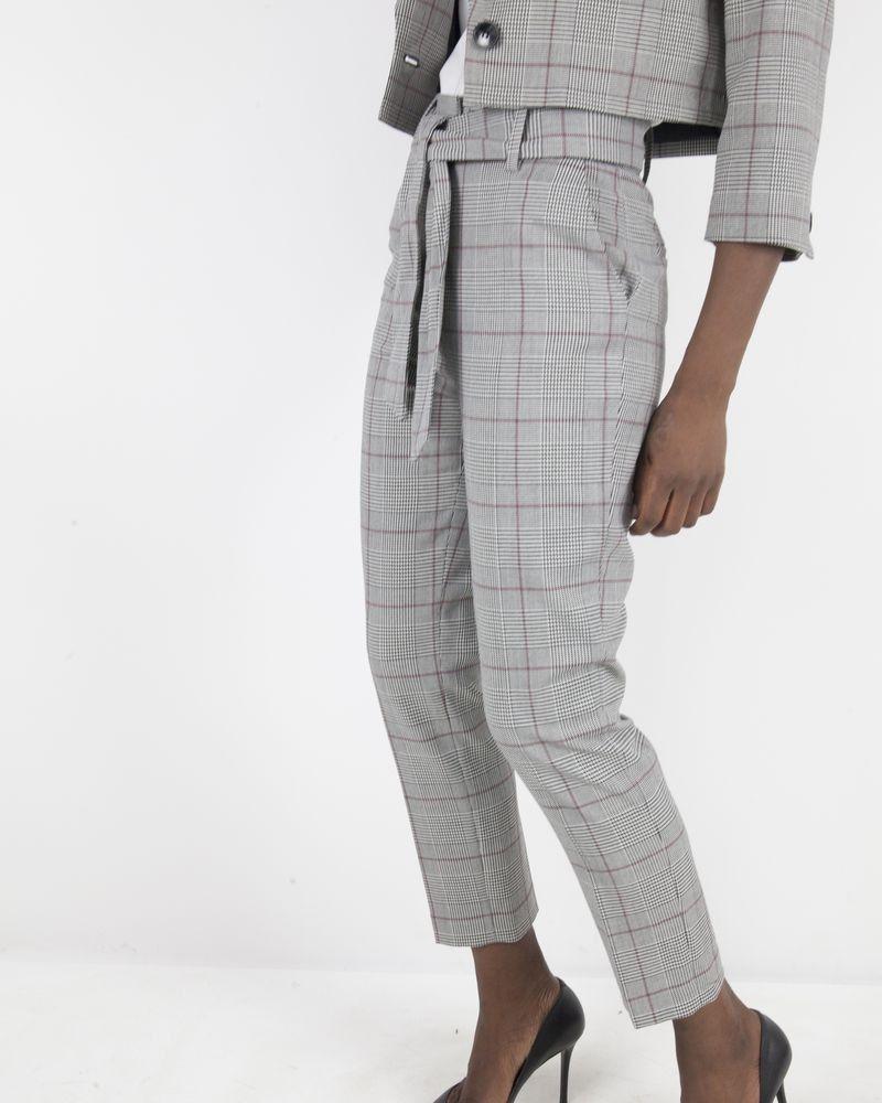Pantalon à carreaux noir et blanc Space Simona Corsellini
